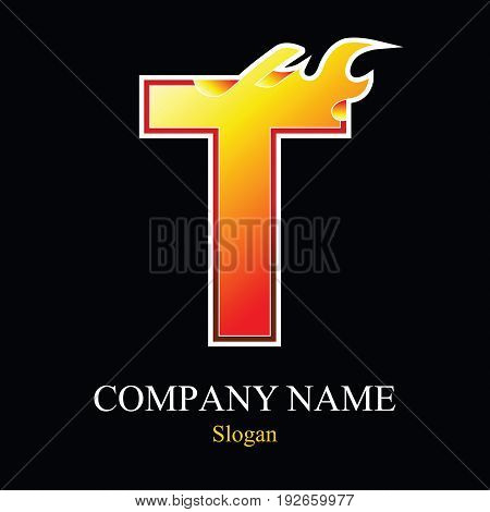 T letter fire logo design template. Vector design template elements for your application or company.