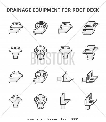 Vector icon design of drainage equipment for roof deck.