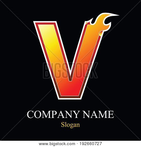 V letter fire logo design template. Vector design template elements for your application or company.