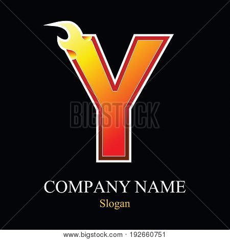 Y letter fire logo design template. Vector design template elements for your application or company.