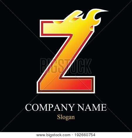 Z letter fire logo design template. Vector design template elements for your application or company.
