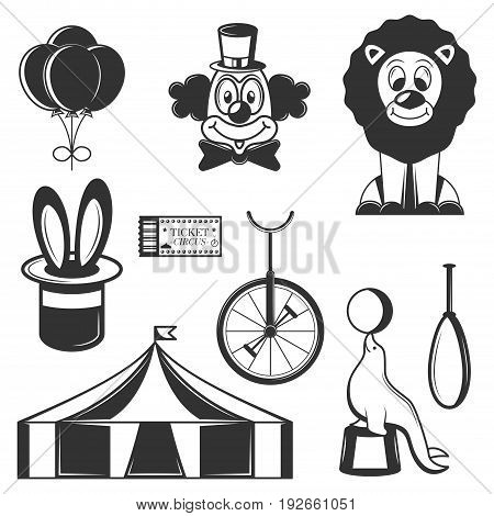 Vector set of circus isolated icons. Black and white circus symbols and design elements. Clown, lion, magic hat