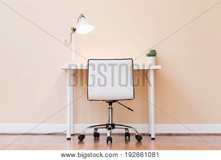 Workstation desk in a large interior room