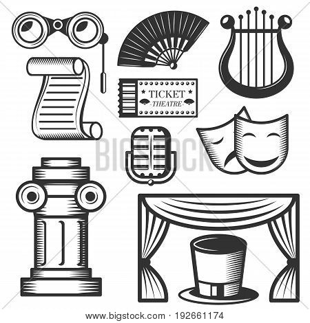 Vector set of classic theater isolated icons. Black and white theater symbols and design elements. Drama masks, harp, tickets, theater drapes and stage curtains.
