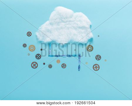 Cloud computing concept with little metal gears