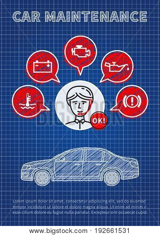 Car maintenance manager blue print vector illustration. Car technical assistant concept with warning signs: check engine oil pressure generator coolant level brake system.