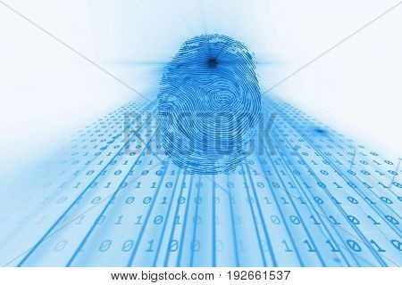 Fingerprint Scanning On Blue Technology  Illustration