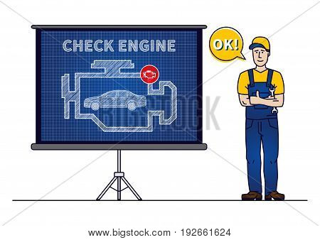 Serviceman with check engine chart board vector illustration. Mechanic and check engine warning sign blue print graphic design. Motor control symbol creative concept.