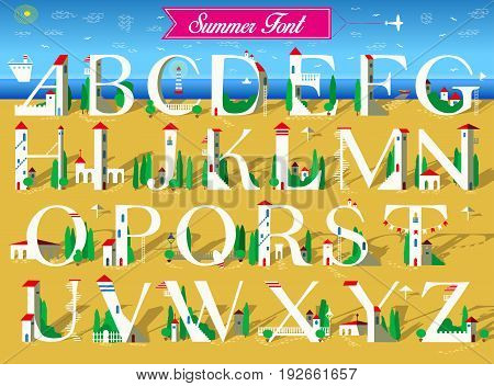 Summer Font. Signs are as white houses with red roofs doors windows and stairs. Yellow and blue background is as sea and beach. Pink banner with text and plane in the sky. Illustration