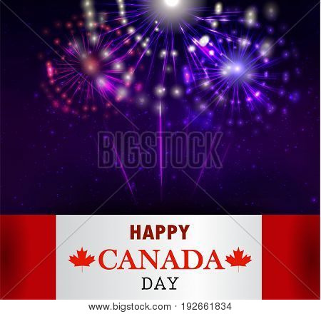 Firework and Canada flag for Canada day Vector background