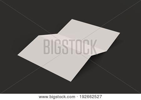 Blank White Three Fold Brochure Mockup On Black Background