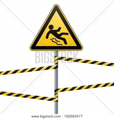 Caution - danger Beware of slippery. Safety sign. The triangular sign on a metal pole with warning bands. White background. Vector illustration.