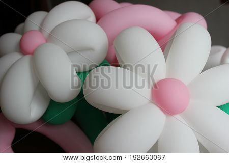 Delicate bouquet with flowers from balloons. Festive background