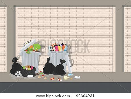 Garbage can full of overflowing trash littering waste disposed around the dust bin on blick background Vector illustration.