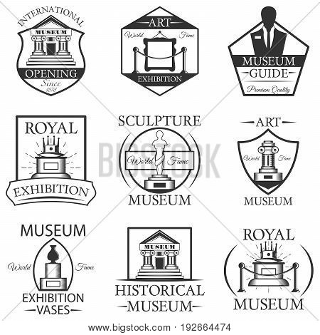 Vector set of museum isolated labels, logo and emblems. Black and white museum symbols and design elements. Art, statue, museum building, ticket.