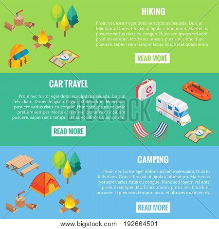Travel web banner. Camping objects in vector isometric style. Flat 3d isometric design. Family vacation, hiking, picnic, car travel. Camp place in forest. Isolated icons and template design.