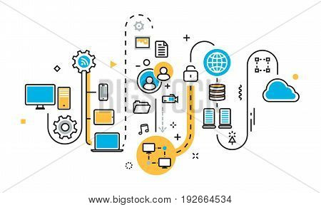 Flat line illustration concept of graph plan scheme mechanism structure algorithm step of saving cloud storage work process big bata upload sync service free server for website banner