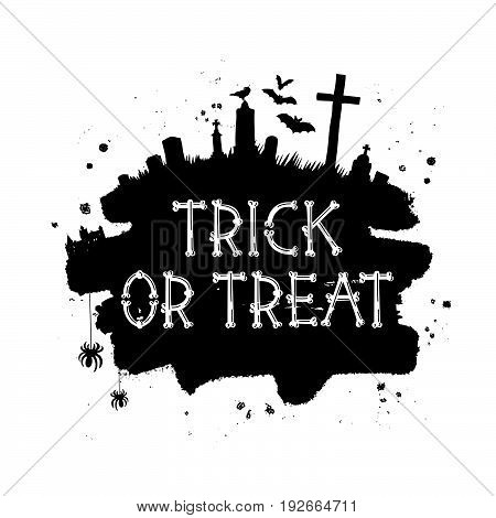 Trick or treat. Happy Halloween. Vector font from bones. The concept of pirated letters. Holiday gift card.