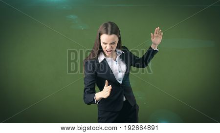 Closeup Portrait Screaming Business Woman Raising Hands In The Air Attack With Kung Foo Chop.