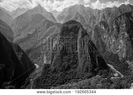 The Machu Picchu Ruins and the Urubamba River, Peru.