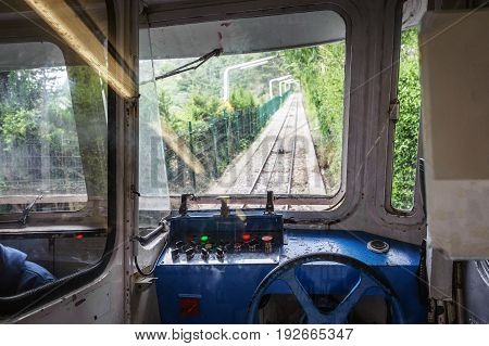 Cabin interior of funicular train at Mount of Tibidabo, Barcelona, Spain