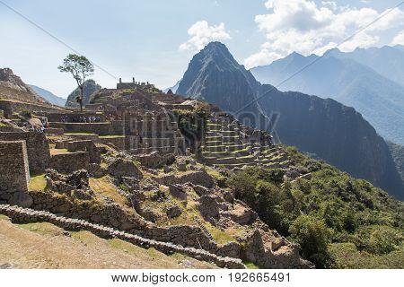 The Machu Picchu Ruins and the Huayna Picchu mountain, Peru