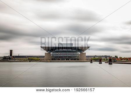 Copenhagen Denmark - August 12 2016: Opera House building in Copenhagen. Long exposure shot.