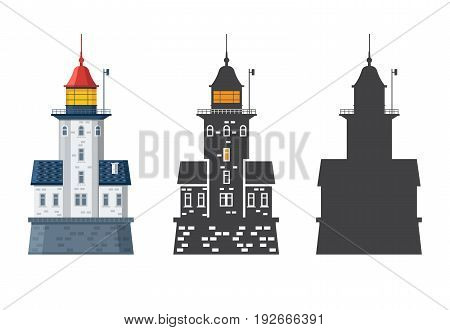 Lighthouse icon in different styles. Sea guiding light houses in flat and outline design. Searchlight or beacon cartoon illustration and silhouette.