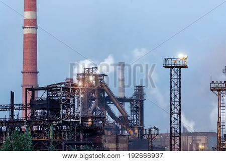 LIPETSK, RUSSIA - JUNE , 2017: Metallurgical plant NLMK Group. View of the metallurgical plant. Manufacture of cast iron and steel.