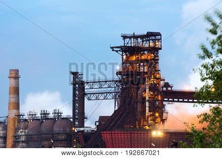 LIPETSK, RUSSIA - JUNE , 2017: Metallurgical plant NLMK Group. Blast furnace, iron production, metallurgical production Night Snapshot