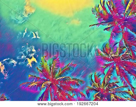 Tropical palm tree on neon colorful sky. Coco palm top digital illustration. Palm leaf frame. Tropical weekend poster. Summer travel banner with text place. Exotic island destination nature background