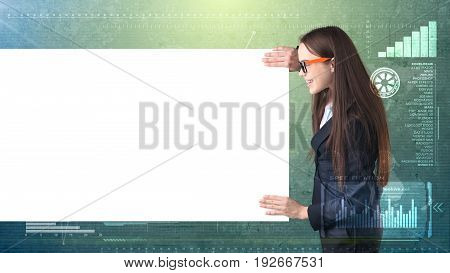 Business Woman Portrait With Blank White Board On Painted Business And Investment Background . Beaut