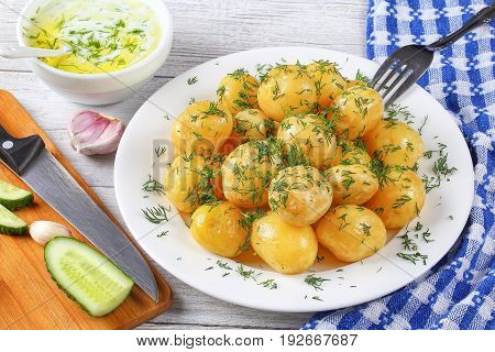 New Potatoes Sprinkled With Finely Chopped Dill
