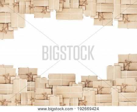 Pile of parcel post box, isolated on white backgrounds