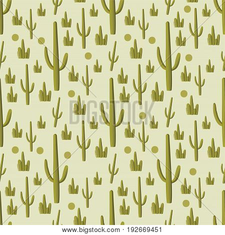 Vector cactus green seamless pattern Succulents opuntia Pachy-cereus Pringlei
