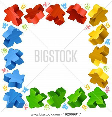 Square frame of multicolored meeples for board games. Red, yellow and green game pieces, and resources counter icons isolated on white background. Vector border for design boardgames advertisement or template of geek t-shirt print