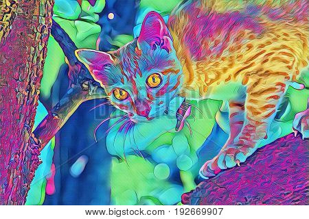 Bright cat on tree. Domestic animal fantastic digital illustration. Cute kitty on tree branch. Cat face with big yellow eyes closeup. Young active kitty hunting in garden. Summer nature background