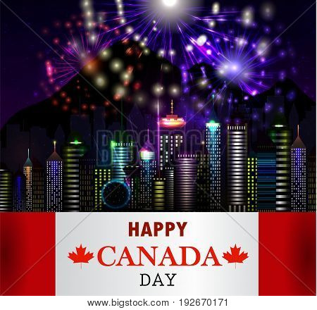 Firework and Vancouver city Canada flag for Canada day Vector background