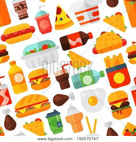 Cartoon fast food icons isolated restaurant tasty american cheeseburger meat and unhealthy burger meal vector illustration. Junk drink snack french seamless pattern background