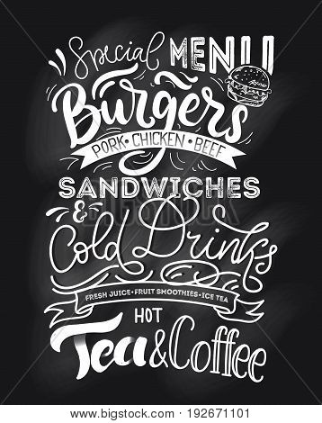 Chalkboard menu for fast food. Hand drawn chalk menu with grunge elements. Retro fast food menu with modern lettering.