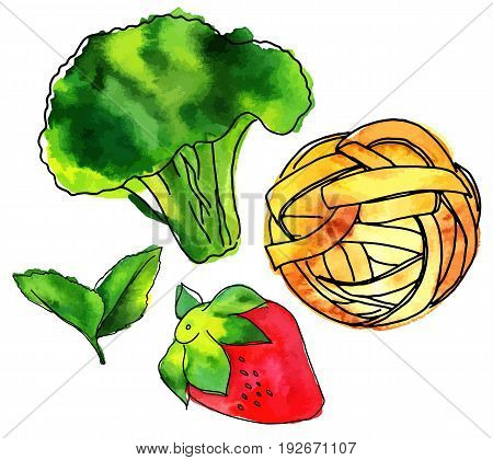 Set of isolated vector and watercolour vegan food drawings. Mint leaves, strawberry, broccoli sprout, and pappardelle pasta nest, hand painted on white background, design elements for vegetarian menu