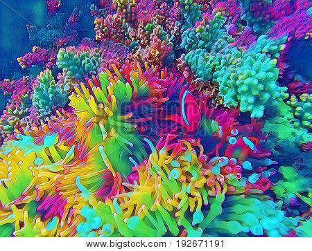 Coral fish in actinia fantastic digital illustration.Bright clownfish in yellow actinia. Cute clown fish underwater. Marine animal in plant. Coral reef ecosystem and exotic animal. Clownfish in nature