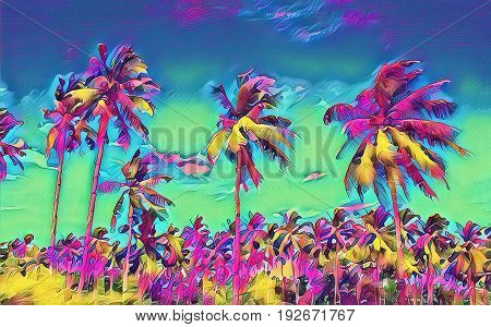 Fantastic tropical landscape with palm tree forest. Sunny day on exotic island. Beautiful tropical nature. Coco palm trees on sky background. Palm trees digital illustration. Scene with coconut palms
