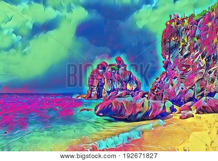 Fantastic beach with stones and rocks. Sand beach view with cloudy sky. Holiday on tropical island. Exotic seaside digital illustration. Still sea water and sunny beach. Relaxing paradise artwork