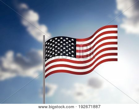 Realistic American Flag Waving In The Sky.
