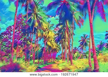 Fantastic tropical park view with palm tree. Sunny day on exotic island. Coco palm forest banner template with text place. Palm tree leaf rainbow digital illustration. Tropic scene with coconut palm