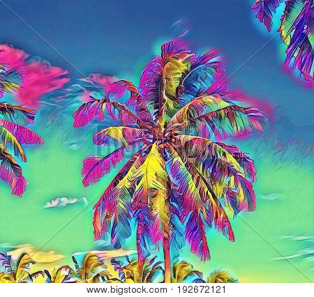 Fantastic tropical scene with palm tree. Sunny day on exotic island. Coco palm forest banner template with text place. Palm tree leaf rainbow digital illustration. Tropic scene with coconut palm