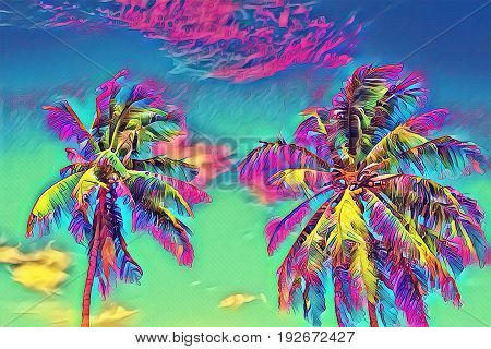 Fantastic tropical view with palm tree. Sunny day on exotic island. Coco palm forest banner template with text place. Palm tree leaf rainbow digital illustration. Tropic scene with coconut palm
