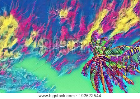 Fantastic tropical skyscape with palm tree. Sunny day on exotic island. Coco palm forest banner template with text place. Palm tree leaf rainbow digital illustration. Tropic scene with coconut palm