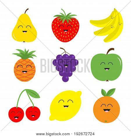 Fruit berry icon set. Pear strawberry banana pineapple grape apple cherry lemon orange. Smiling face Fresh farm healthy food Flat design White background Isolated. Vector illustration